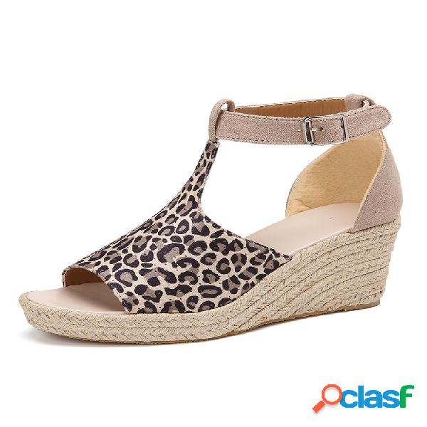 Mujer hebilla correa plataforma cuñas cómodas alpargatas casuales sandalias