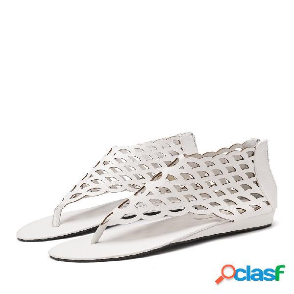 Mujer zapatos planos con cremalleras huecas de color sólido con punta de clip sandalias