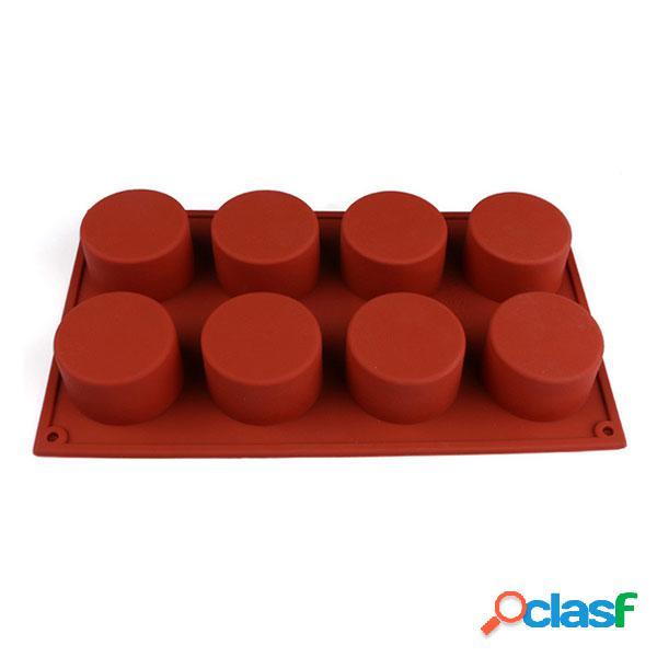 Forma redonda de 8 agujeros silicona molde de pastel molde de hielo de pudín de chocolate y caramelo 3d molde de pastelería fondant