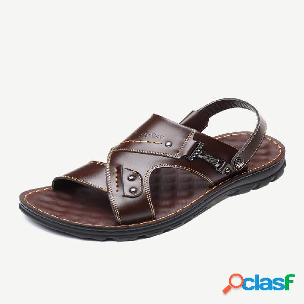Hombre cuero microfibra metal decoracion playa zapatilla casual sandalias