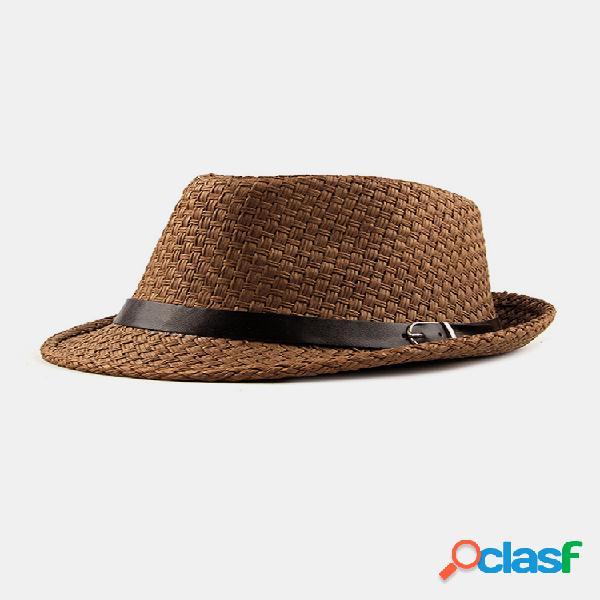 Mujer paja tejida malla transpirable curl brim adición de cuero cinturón sólido fashion jazz sombrero