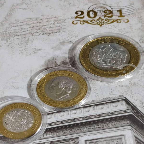Monedas plata set de 3 pza. nuevos pesos 1993