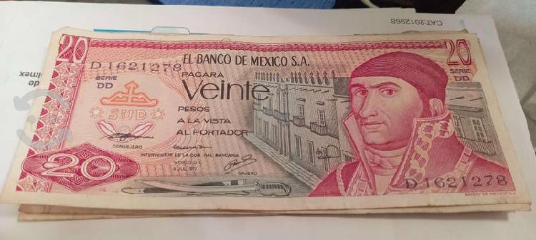 Billete antiguo de 20 pesos