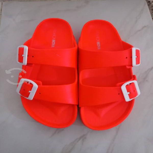 Sandalias doble hebilla naranjas fashion nova no.6