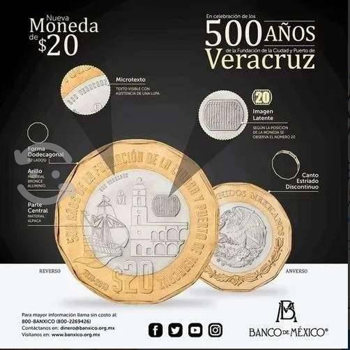 Moneda 20 pesos 500años fundacion veracruz
