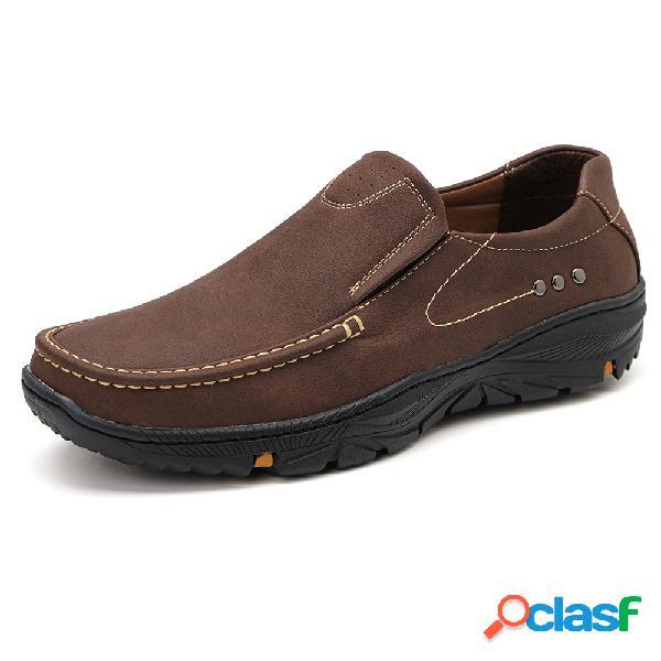 Hombres slip antideslizante de cuero de microfibra en zapatos casuales al aire libre