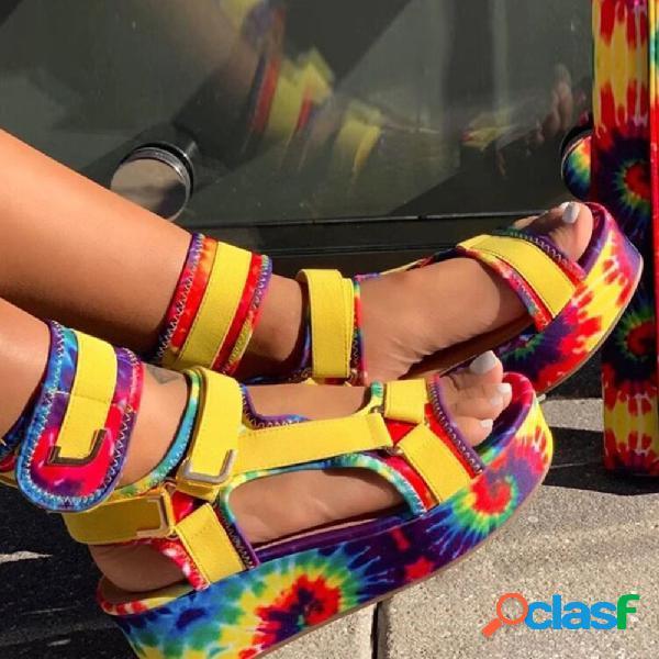 Tamaño grande mujer casual gancho plataforma con correa de lazo en el tobillo sandalias