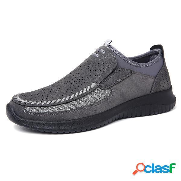 Menico hombres costura cuero de microfibra hueca caminar zapatos casuales