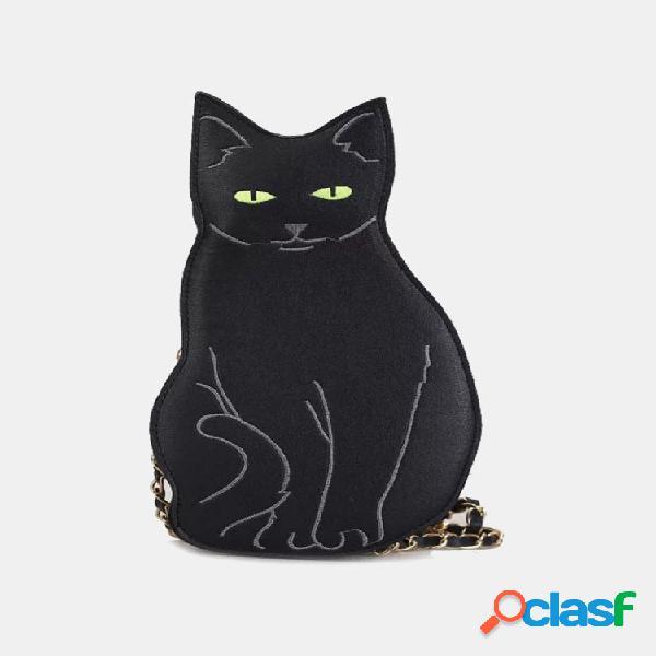 Mujer negro gato patrón bandolera con cadena bolsa