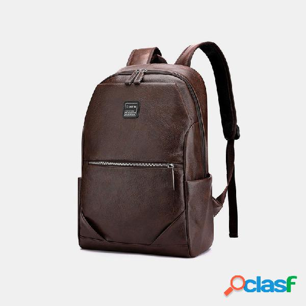 Hombres pu cuero negocios gran capacidad 15.6 inch laptop bolsa mochila multifunción
