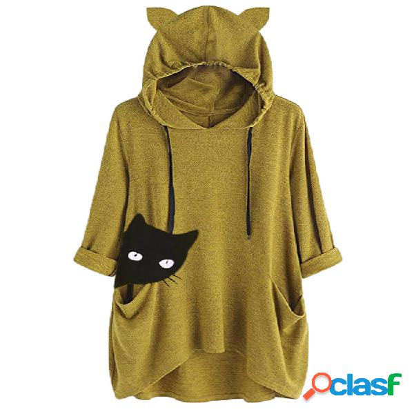 Mujer gato informal de manga larga estampada capucha