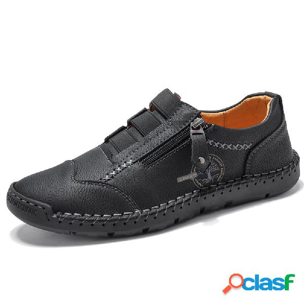 Menico zapatos casuales de cuero de microfibra con costuras a mano con cremallera lateral antideslizante