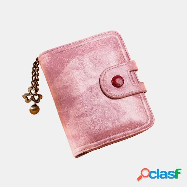 Mujer pu hardware de cuero ranura para múltiples tarjetas monedero monedero monedero