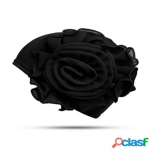 Mujer vendimia gorro con flor grande de pasta lateral gorro informal gasa de seda con leche soft gorro sólido sombrero