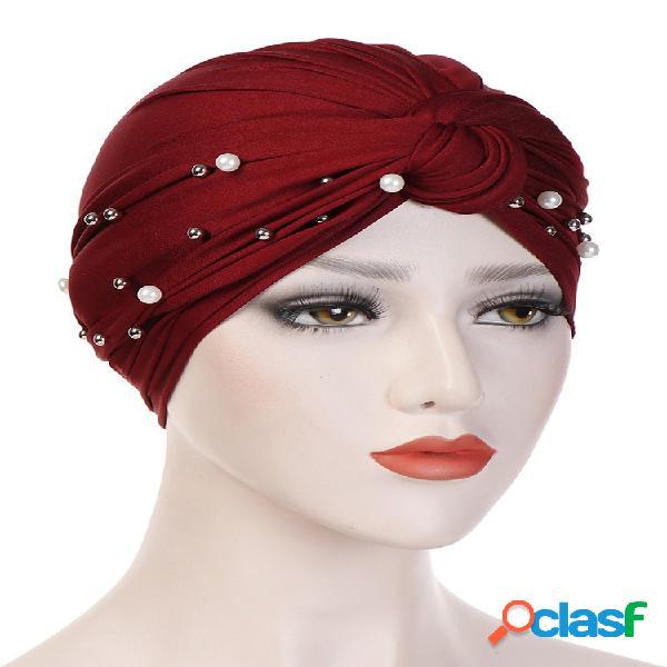 Mujer vendimia gorro de gorro con cuentas de lazo casual seda de leche soft gorro sólido sombrero tocado