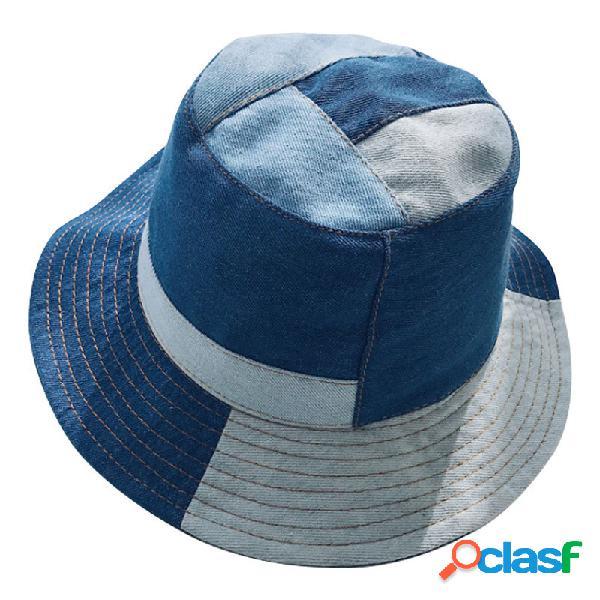 Mujer vendimia costura vaquero plegable cubo de protección solar sombrero al aire libre viajes ocasionales playa mar sombrero