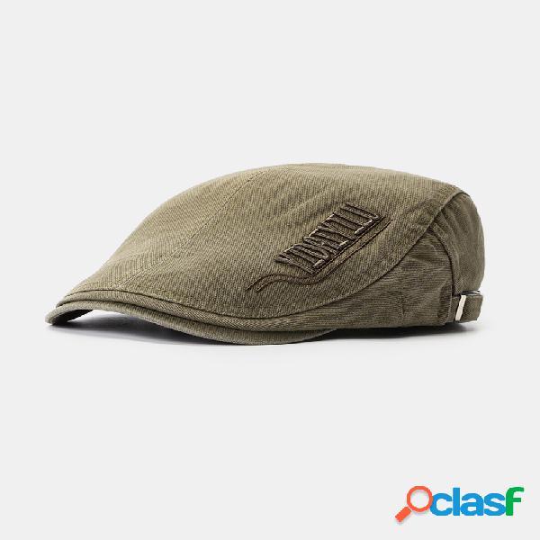 Para hombre mujer verano algodón bordado boina gorra pato sombrero sombrilla casual al aire libre en punta hacia adelante