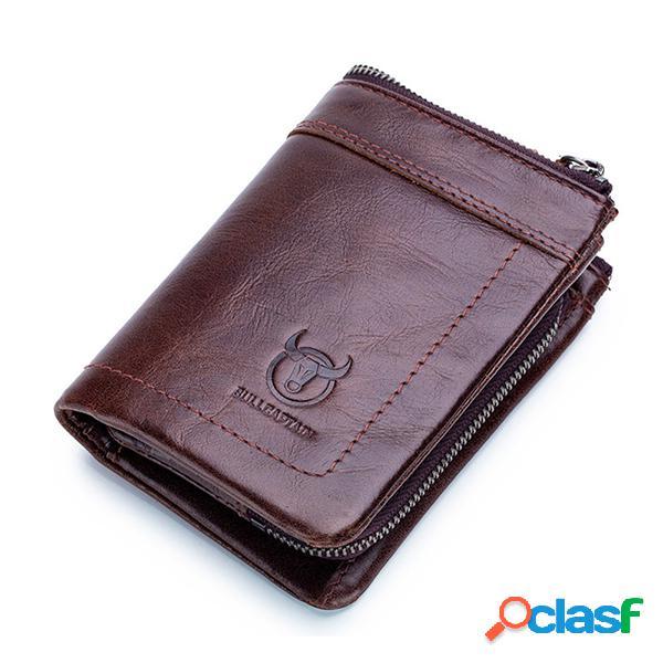 Rfid hombres de cuero de vaca 15 ranura para tarjeta bifold wallet soft monedero
