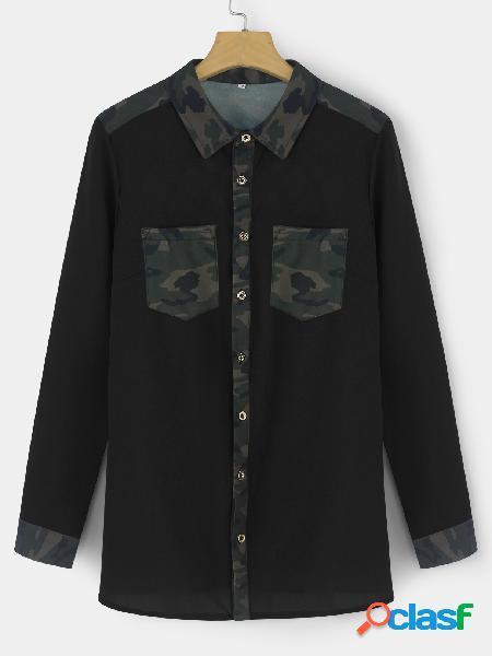 Camisas de manga larga con estampado de camuflaje casual negro