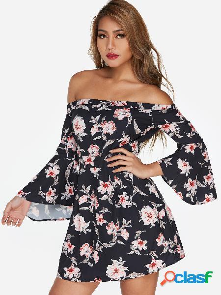 Manga larga con estampado floral al azar en el hombro campana con manga larga, vestido ajustado