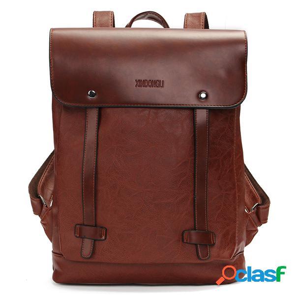 Bolsa retra de pu cuero bolsa de ordenador portátil de escuela bolsa al hombro muchila para mujeres y hombres