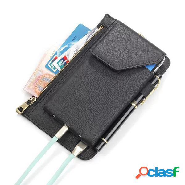 Bolsa retra de doble capa de pu cuero bolsa lumbar de 6.3 pulgadas bolsa de móvil de batería de carga para hombres