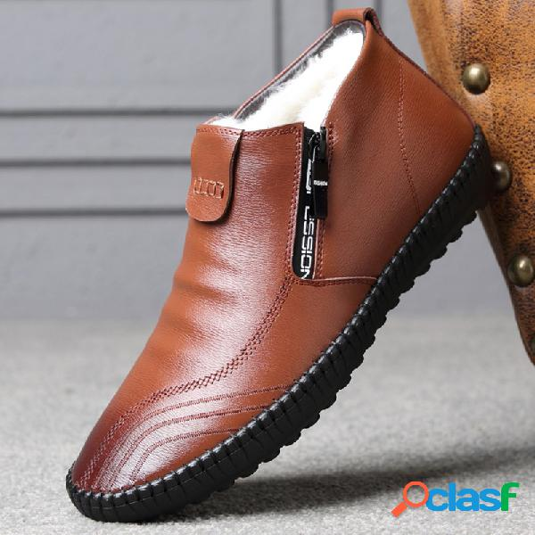 Hombre elegante cremallera lateral forro de felpa cálido cómodo soft tobillo casual botas