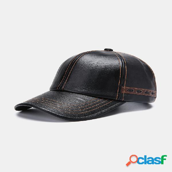 Hombres de cuero artificial vendimia personalidad de la gorra de béisbol con tejido sombrero