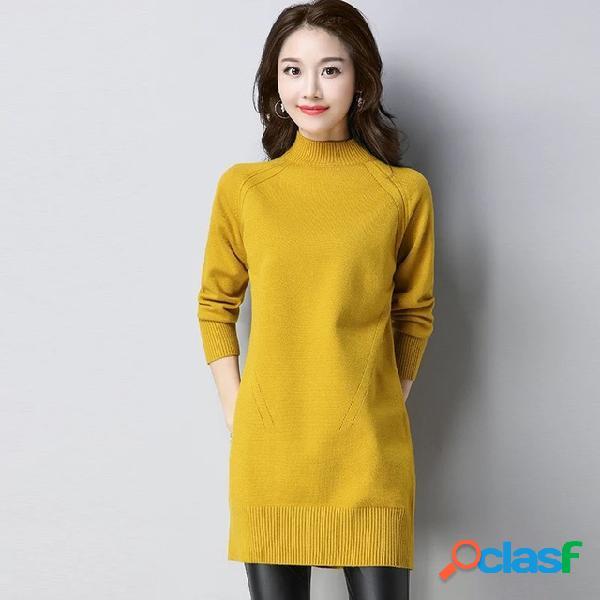 Suéter de medio cuello cabeza de mujer suelta nuevo plus use fondo grueso largo camisa