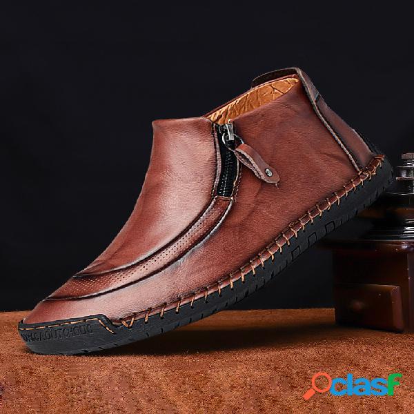 Menico hombre piel costura a mano cremallera lateral comfy soft tobillo botas