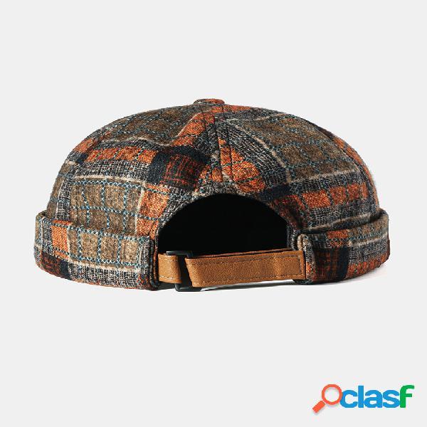 Hombre & mujer sin ala cráneo gorra multicolor costura a cuadros patrón gorras soft sombreros personalizados de fieltro