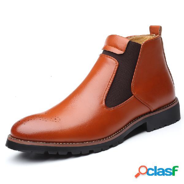 Hombres con estilo brogue slip elástico en cómodo tobillo casual chelsea botas