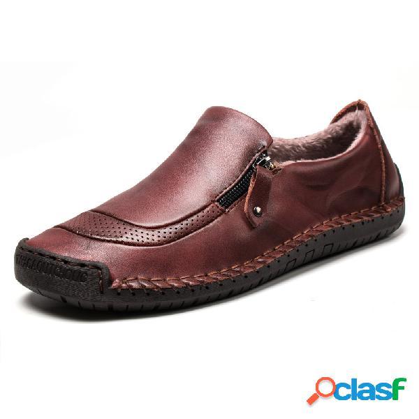 Hombres costuras a mano forro cálido de felpa zapatos planos de cuero con cremallera plana