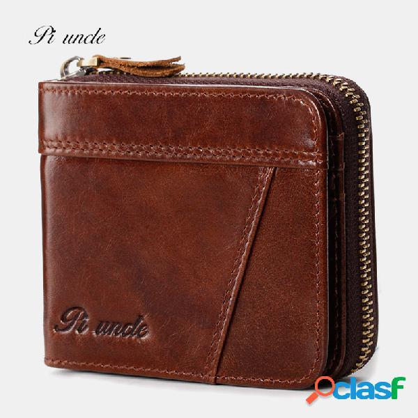 Monedero con cremallera retro para hombre rfid mini billetera con múltiples ranuras