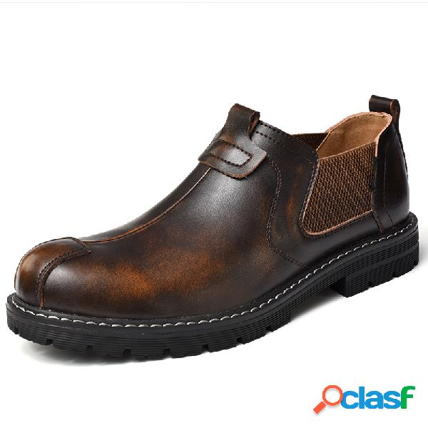 Vendimia al aire libre slip elástico de estilo de trabajo en zapatos de cuero casuales