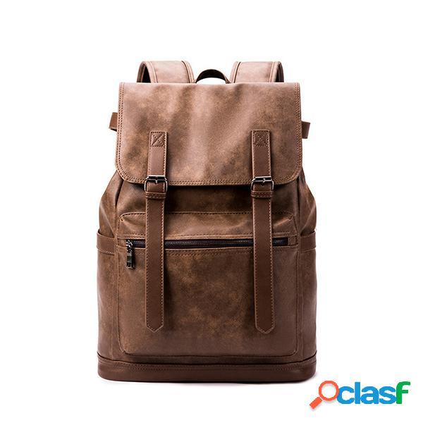 Los hombres de carga usb de viaje mochila de negocios sólido pu cuero computadora bolsa