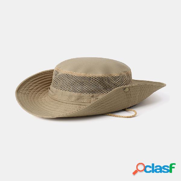 Hombre mujer cubo de visera plegable de verano sombrero pesca sombrero al aire libre gorra de malla de escalada para sombrilla