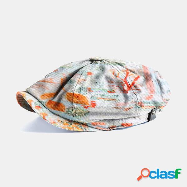 Hombre & mujer art planta gorra plana de moda con estampado nebuloso gorras de vendedor de periódicos