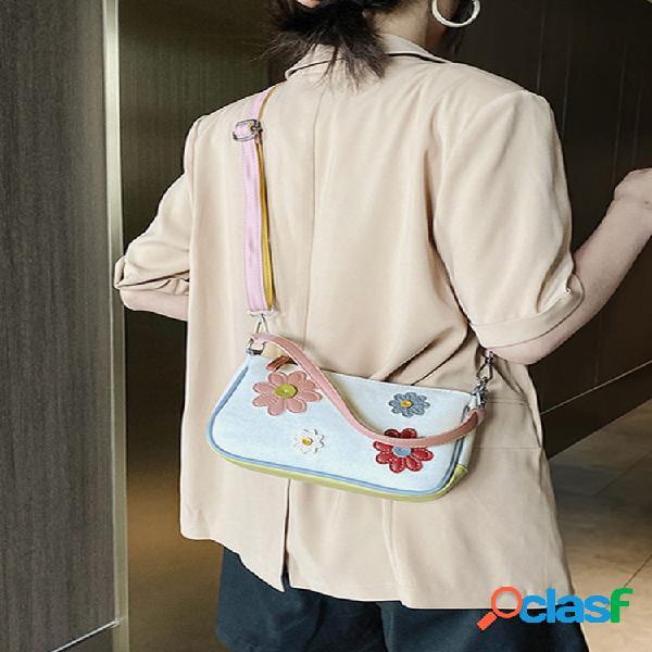 Mujer bordado vendimia hombro de patchwork floral bolsa bolso de mano