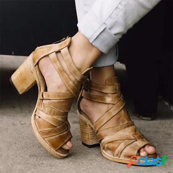 Tamaño grande mujer cruz cómoda banda cremallera chunky tacón alto sandalias