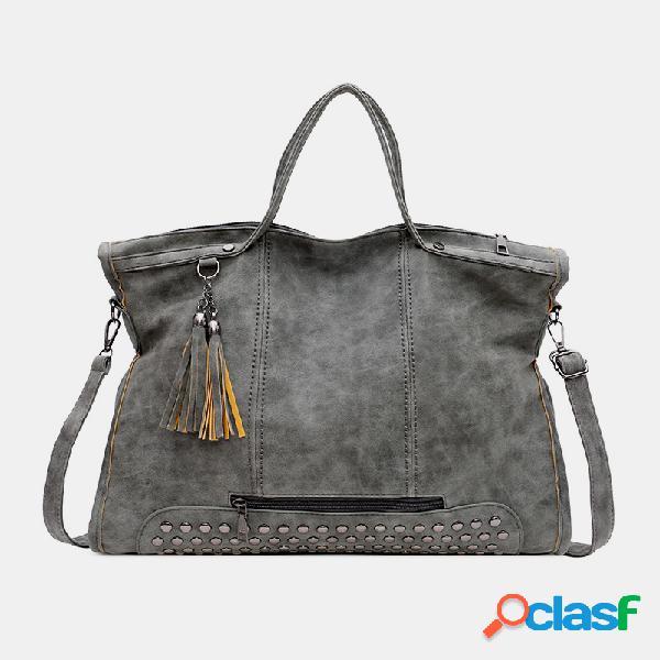 Mujer bolso de mano con remache de borla grande bolsa