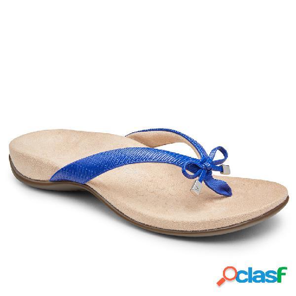 Mujer chanclas de dedo del pie con clip bowknot de gran tamaño playa cuñas sandalias