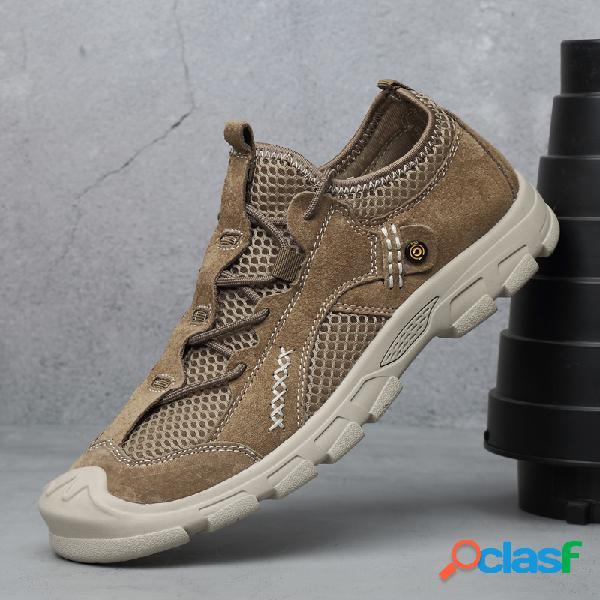 Hombres malla cuero empalme antideslizante soft suela al aire libre zapatillas casual