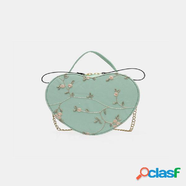 Mujer bordado de cadena floral en forma de corazón bolsa satchel bolsa hombro bolsa bolso