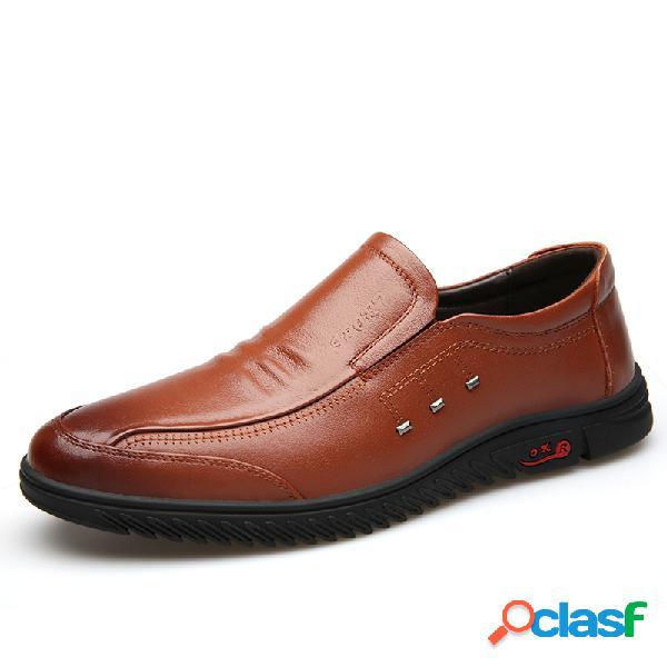 Hombres vaca cuero cómodo punta redonda soft slip único en zapatos casuales
