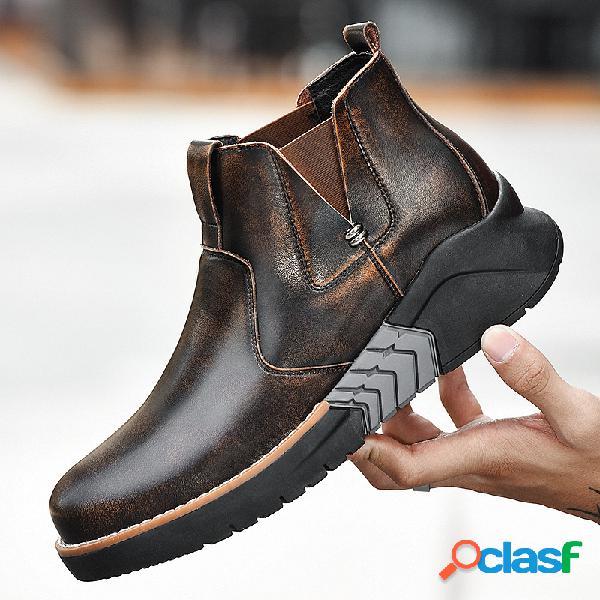 Hombres vendimia al aire libre estilo de trabajo slip elástico en cuero informal botas