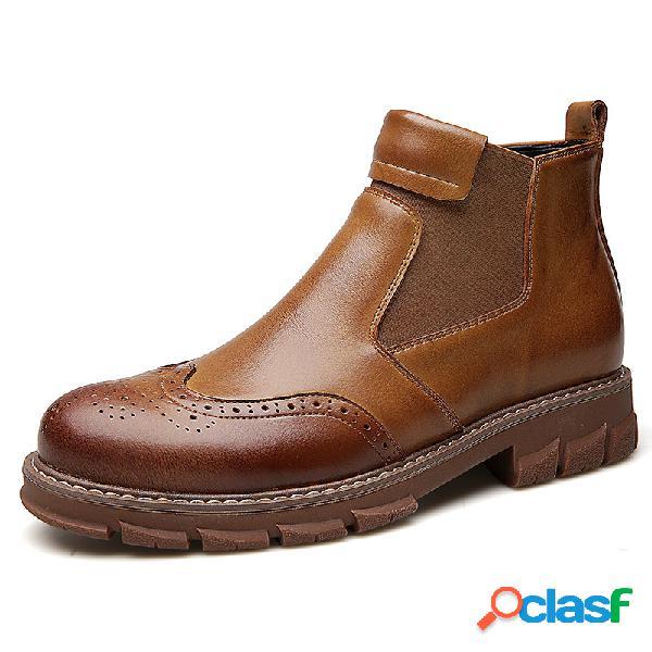 Hombres classic brogue slip elástico tallado en cuero chelsea botas