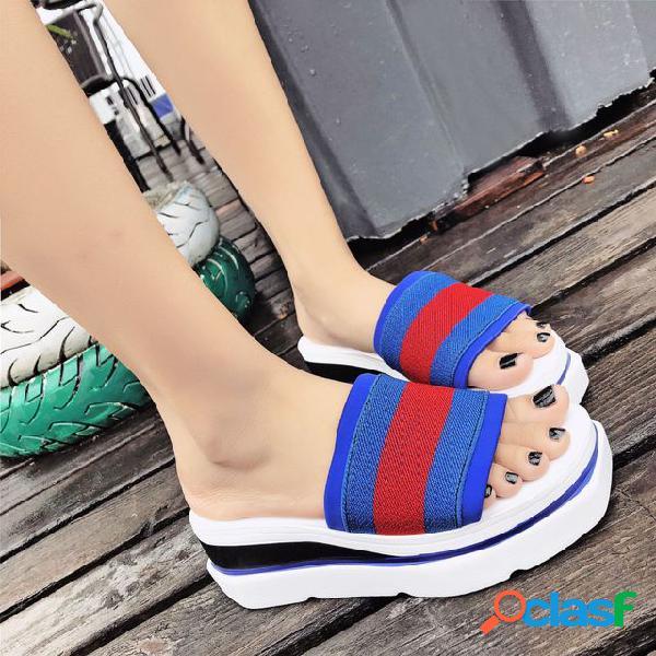 Estacional sandalias nuevas mujeres desgaste al aire libre esponja pastel parte inferior palabra salvaje harajuku zapatos de viaje de fondo grueso grueso mujeres