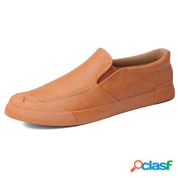Hombres slip de cuero de microfibra con puntera de goma en zapatillas de deporte casuales