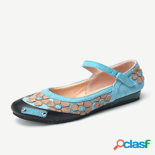 Mujer retro flowers punta redonda gancho zapatos planos con lazo